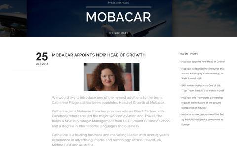 Screenshot of Blog mobacar.com - Press and News   Mobacar   Intelligent Mobility Solutions - captured Nov. 4, 2018