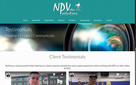 Screenshot of Testimonials Page npvdigitalvideo.com - Video Testimonials for Customer Referral | NPV Productions - captured Oct. 18, 2018