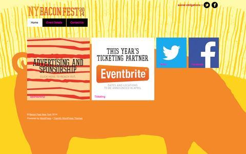 Screenshot of Home Page baconfestny.com - Bacon Fest New York - captured Oct. 3, 2014