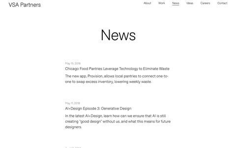 Screenshot of Press Page vsapartners.com - News   VSA Partners - captured May 22, 2018