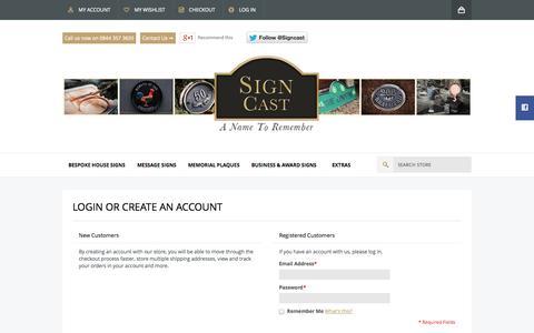Screenshot of Login Page signcast.co.uk - Customer Login  - Signcast - captured Sept. 30, 2014