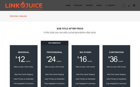 Screenshot of Pricing Page linkjuice.co.nz - Pricing Tables - LinkJuice - captured Nov. 9, 2016