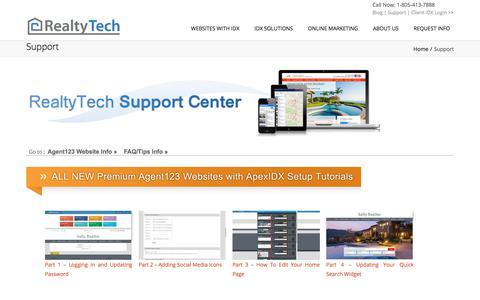 Screenshot of Support Page realtytech.com - Real Estate Agent Websites, IDX, Internet Marketing Client's Support Center - captured Oct. 23, 2017