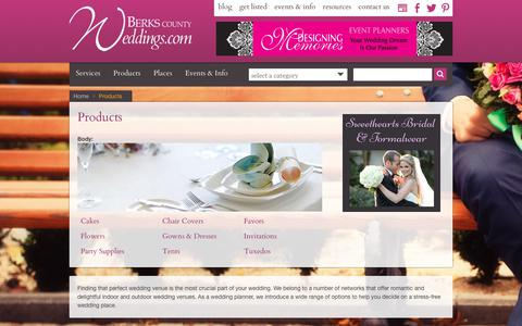 Screenshot of Products Page berkscountyweddings.com - Wedding supplies and Products   Berks County Weddings - captured June 29, 2018