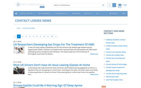Screenshot of Press Page contactlensesplus.com - Contact Lenses News :: Buy Cheap Contact lenses direct from the USA - captured Dec. 1, 2018
