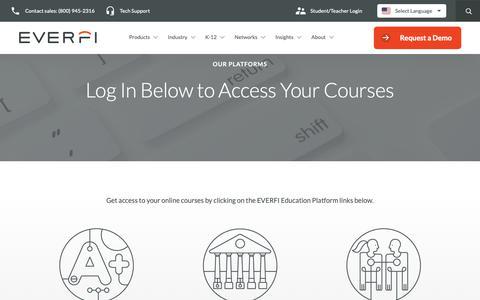 Screenshot of Login Page everfi.com - Our Platforms | EVERFI - captured June 18, 2019