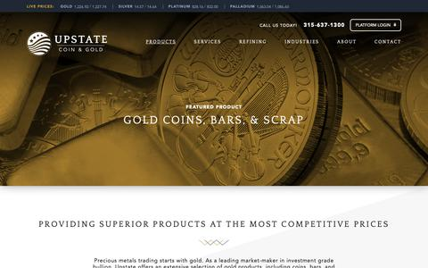 Screenshot of Products Page upstatecoins.com - Gold Coins, Bars, & Scrap - UPSTATE Coin - Gold - captured Oct. 19, 2018