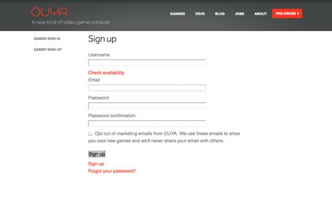 Screenshot of Signup Page ouya.tv - OUYA: A New Kind of Video Game Console by OUYA - captured Sept. 17, 2014