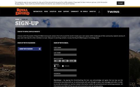 Screenshot of Signup Page royalenfield.com - Sign Up - Royal Enfield - captured July 22, 2018