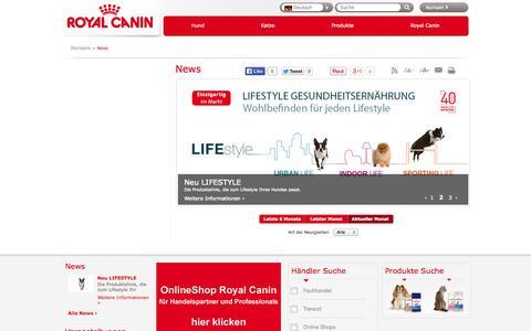 Screenshot of Press Page royalcanin.ch - Startseite     /         News              - Royal Canin - captured Oct. 7, 2014