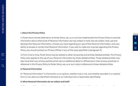 Screenshot of Privacy Page porterdavis.com.au - Privacy Policy | Porter Davis - captured Jan. 11, 2020