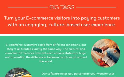 Screenshot of Home Page bigtags.com - Turn your E-commerce visitors into paying customers - captured July 9, 2018