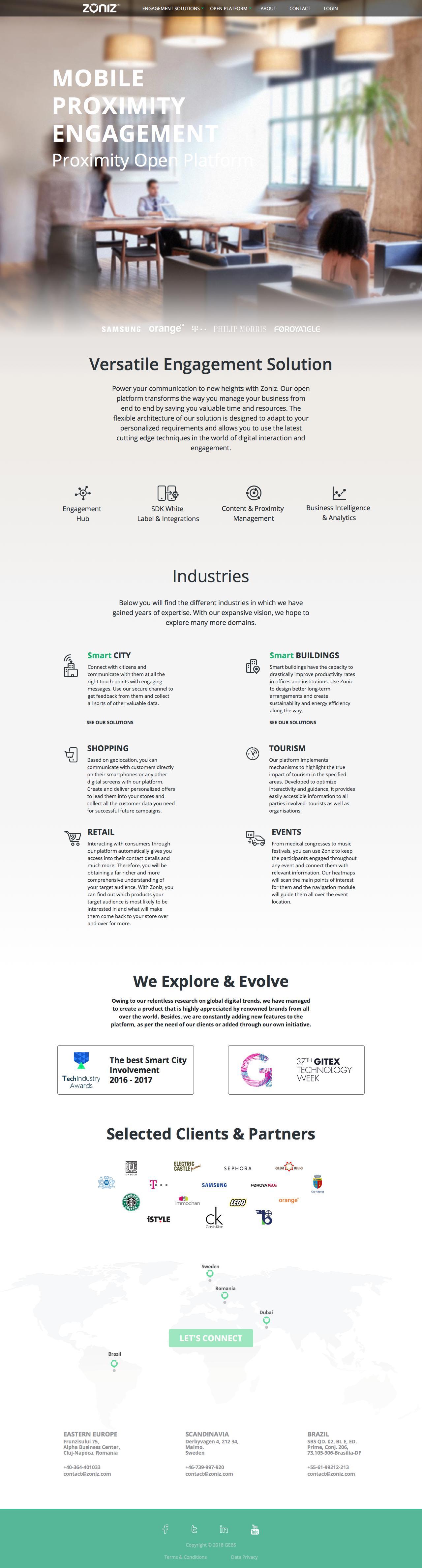 Screenshot of zoniz.com - Mobile Proximity Engagement - Proximity Open Platform - Zoniz Proximity - captured May 26, 2018
