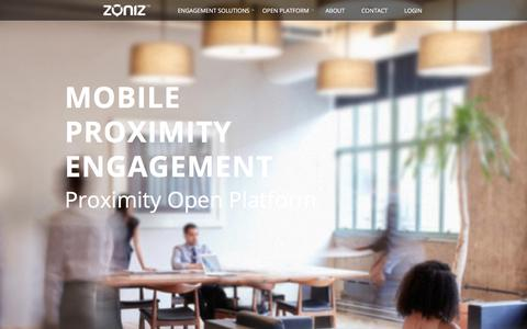 Screenshot of Home Page zoniz.com - Mobile Proximity Engagement - Proximity Open Platform - Zoniz Proximity - captured May 26, 2018