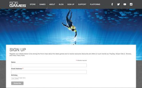 Screenshot of Signup Page 505games.com - Sign Up - 505 Games - captured Nov. 30, 2016