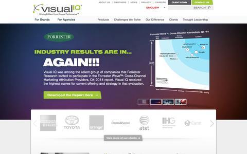 Screenshot of Home Page visualiq.com - Visual IQ - Marketing Attribution and Optimization - captured May 7, 2015