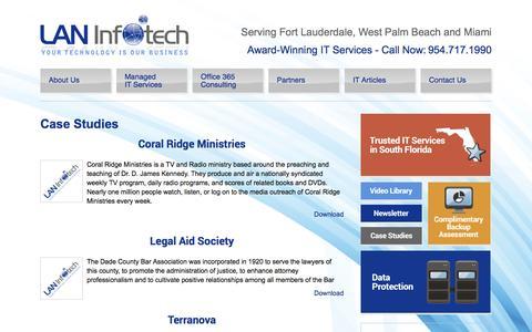Screenshot of Case Studies Page laninfotech.com - Case Studies - Fort Lauderdale IT Company - captured Oct. 2, 2016