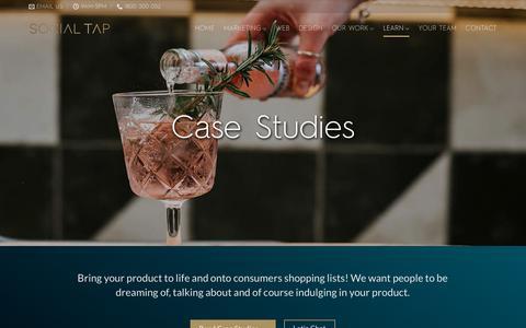 Screenshot of Case Studies Page socialtap.com.au - Marketing, Digital, Social Media & Advertising Packages | Social Tap - captured Nov. 7, 2018