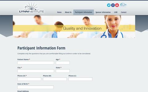 Screenshot of Signup Page lhsi.net - Participant Information Form   LHSI - captured Nov. 2, 2014