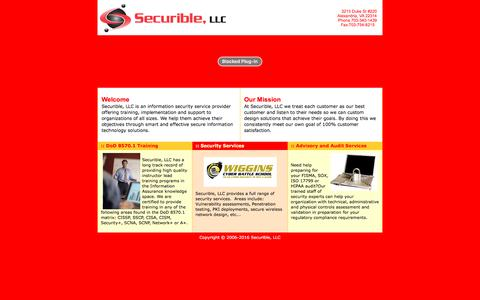 Screenshot of Home Page securible.com - Welcome to Securible, LLC - captured Oct. 19, 2017