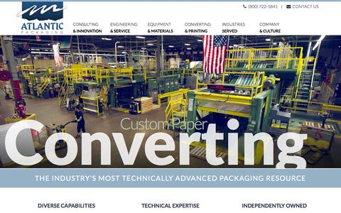 Screenshot of Home Page atlanticpkg.com - Atlantic Packaging - Packaging Equipment, Materials, and Expertise - captured Feb. 6, 2016