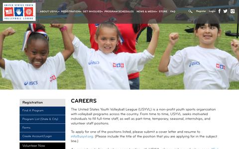 Screenshot of Jobs Page usyvl.org - Careers - United States Youth Volleyball League - captured Nov. 12, 2017