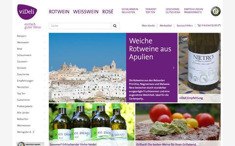 Screenshot of Home Page videli.de - viDeli Weinversand - einfach guten Wein online kaufen - captured Sept. 4, 2015