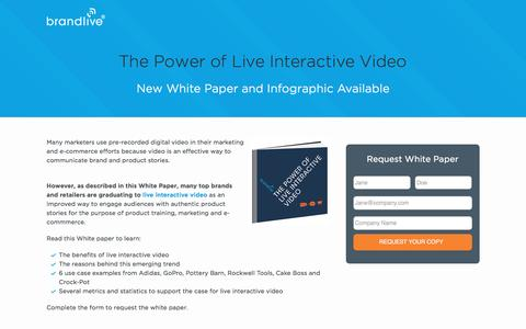 Screenshot of Landing Page yourbrandlive.com - Power of Live Interactive Video - captured April 4, 2016