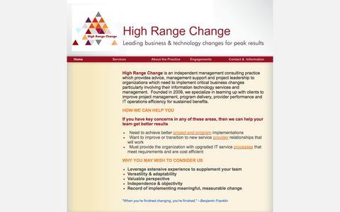 Screenshot of Home Page highrangechange.com - High Range Change - Home - captured Sept. 30, 2014