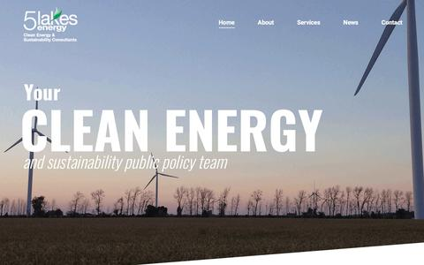 Screenshot of Home Page 5lakesenergy.com - 5LakesEnergy – 5 Lakes Energy is a Michigan-based policy consulting firm dedicated to advancing policies and programs that promote clean energy, sustainability and the environment. - captured June 10, 2017