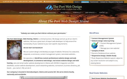Screenshot of About Page theportwebdesign.com - About The Port Web Design Kennebunkport Maine, WordPress Web Development Maine, Maine web hosting - captured May 21, 2016