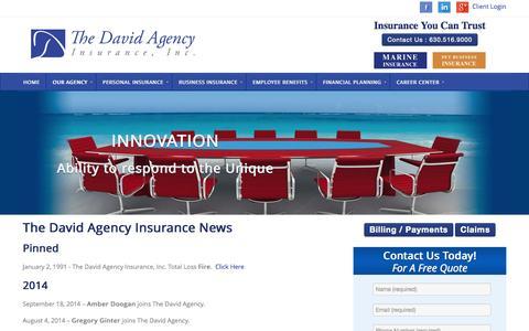 Screenshot of Press Page thedavidagency.com - News - The David Agency - The David Agency - captured Nov. 4, 2014