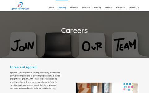 Screenshot of Jobs Page agaramtech.com - Careers - captured Oct. 19, 2018