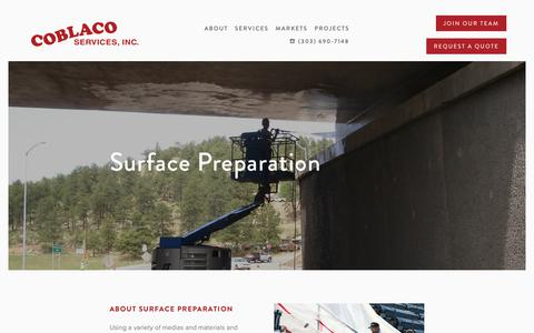 Screenshot of Services Page coblaco.com - Industrial Surface Preparation Service Providers in Colorado — Coblaco Services, Inc. - captured Oct. 25, 2018