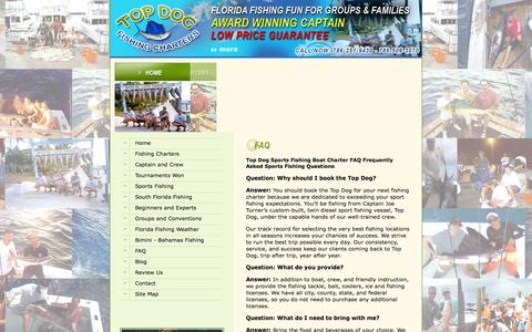 Screenshot of FAQ Page topdogsportfishing.com - Top Dog Sports Fishing Boat Charter FAQ Frequently Asked Sports Fishing Questions - captured Sept. 30, 2014