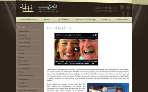 Screenshot of Services Page mansfielddentistry.com - Dental Implants Mansfield TX, Tooth Implant, Implant Dentist - captured Oct. 4, 2014