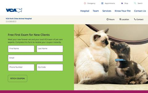 Screenshot of Signup Page vcahospitals.com - Free First Exam in University Park, TX | VCA Park Cities Animal Hospital - captured July 15, 2018