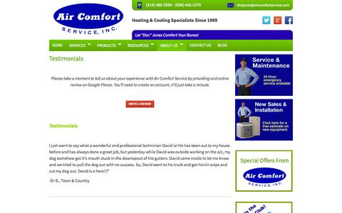 Screenshot of Testimonials Page aircomfortservice.com - Furnace St Louis | Furnace Repair St Charles | Furnace Replacement St Louis - captured Sept. 22, 2014