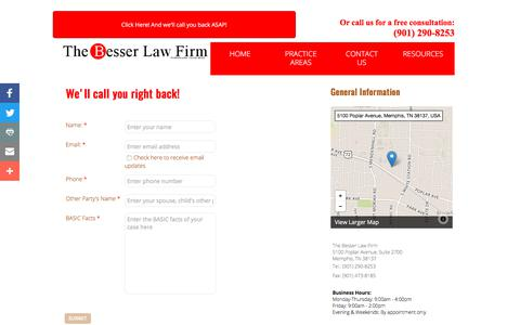 Screenshot of Contact Page thebesserlawfirm.com - The Besser Law Firm, P.c. : Contact - captured June 19, 2017