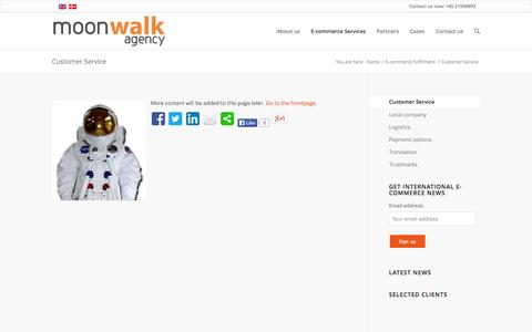 Screenshot of Support Page moonwalk-agency.com - Customer Service - Moonwalk agency - captured Oct. 26, 2014