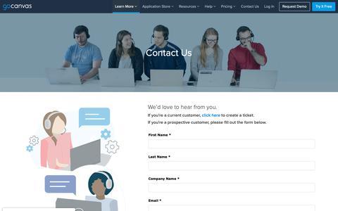 Screenshot of Contact Page gocanvas.com - Contact Us - captured March 13, 2019