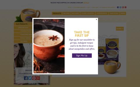 Screenshot of Products Page oregonchai.com - Oregon Chai Beverage and Drink Products - captured April 17, 2016