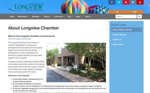 Screenshot of About Page longviewchamber.com - About Longview Chamber | Longview Chamber of Commerce | Longview, Texas - captured Feb. 1, 2016