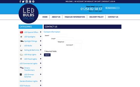 Screenshot of Contact Page led-bulbs-online.co.uk - Contact Us - captured Jan. 22, 2016