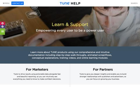 Screenshot of Support Page tune.com - Tune Help - captured Nov. 17, 2015