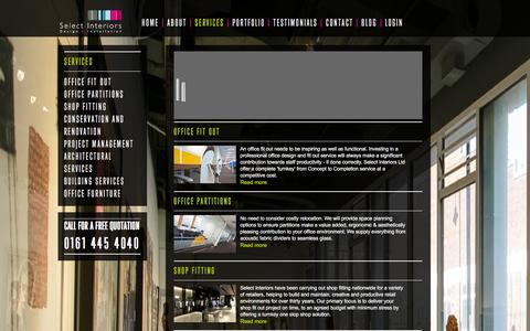 Screenshot of Services Page select-interiors.com - Office Fitting & Fit Out Manchester | Office Interior Design by Select Interiors - captured Dec. 22, 2015