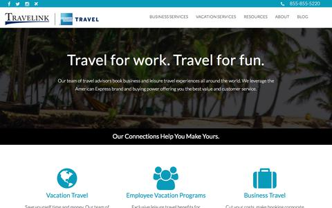 Screenshot of Home Page travelink.com - Travelink, American Express Travel - captured May 26, 2018