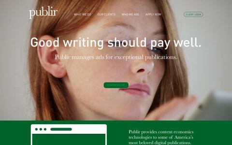Screenshot of Home Page publir.com - Publir - captured Dec. 14, 2015