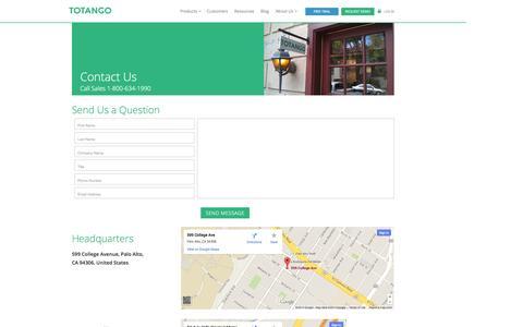 Screenshot of Contact Page totango.com - Contact Us » Totango | Totango - captured Sept. 17, 2014