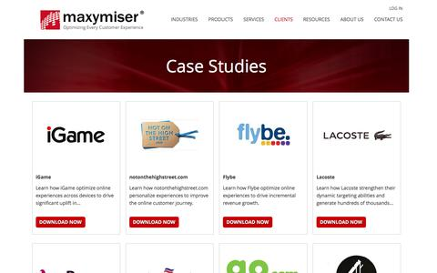 Screenshot of Case Studies Page maxymiser.com - Case Studies | Maxymiser - captured Oct. 28, 2014